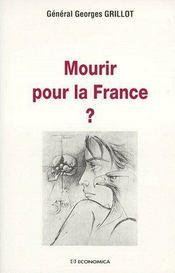 Mourir Pour La France ? - Couverture - Format classique