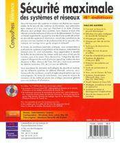 Securite Optimale : Guide D'Un Ex-Hacker - 4ème de couverture - Format classique