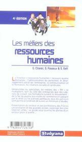 Metiers des ressources humaines (les) (4e édition) - 4ème de couverture - Format classique
