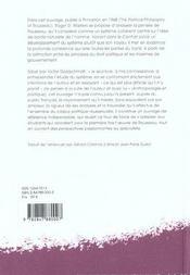 La philosophie politique de rousseau - 4ème de couverture - Format classique