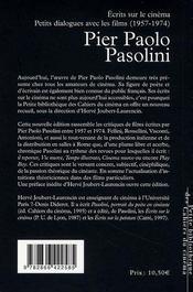 Pier Paolo Pasolini ; écrits sur le cinéma - 4ème de couverture - Format classique