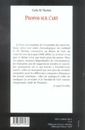 Propos Sur L Art - 4ème de couverture - Format classique