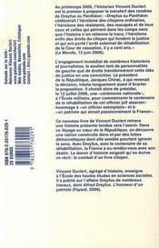 Dreyfus au panthéon ; voyage au coeur de la république - 4ème de couverture - Format classique