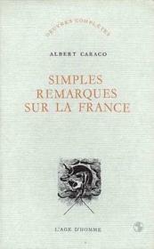 Simples Remarques Sur La France - Couverture - Format classique