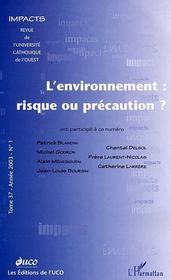 L'environnement : risque ou précaution ? - Couverture - Format classique