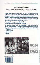 Sous Les Discours, L'Interaction - 4ème de couverture - Format classique