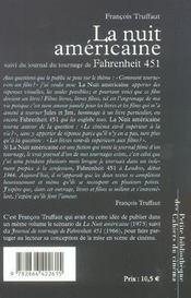 La nuit américaine scénario ; journal de tournage de fahrenheit 451 - 4ème de couverture - Format classique