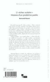 L'Echec Scolaire - 4ème de couverture - Format classique