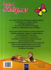 Festival d'énigmes ; vert - 4ème de couverture - Format classique