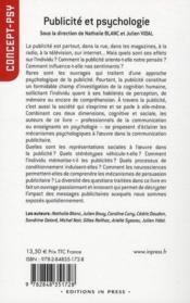 Publicité et psychologie - 4ème de couverture - Format classique