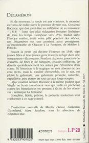 Decameron - 4ème de couverture - Format classique