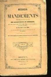 Recueil des Mandements, Ordonnances et Lettres Pastorales des Archevêques de Bordeaux. TOME Ier. - Couverture - Format classique