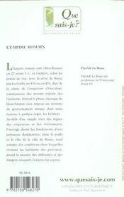 L'empire romain - 4ème de couverture - Format classique