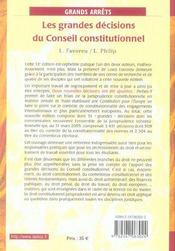Les Grandes Decisions Du Conseil Constitutionnel - 4ème de couverture - Format classique