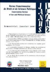 Revue Camerounaise De Droit Et De Science Politique ; Semestriel, Janvier 2007 - Couverture - Format classique