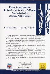 Revue Camerounaise De Droit Et De Science Politique ; Semestriel, Janvier 2007 - Intérieur - Format classique