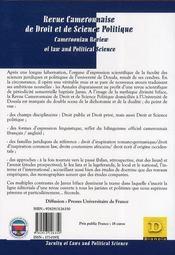 Revue Camerounaise De Droit Et De Science Politique ; Semestriel, Janvier 2007 - 4ème de couverture - Format classique