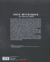 Cols Mythiques Du Tour De France - 4ème de couverture - Format classique