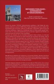 Reformes publiques : expériences et enseignements - 4ème de couverture - Format classique
