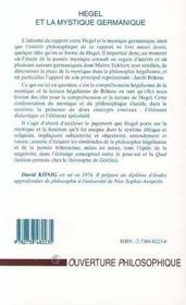 Hegel et la mystique germanique - 4ème de couverture - Format classique