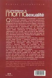 Les chretiens et l'homosexualite l'enquete - 4ème de couverture - Format classique