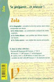 Zola ; Biographie ; Etude De L'Oeuvre - 4ème de couverture - Format classique