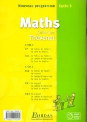 Mathématiques ; CE2 ; cahier d'exercices (édition 2002) - 4ème de couverture - Format classique