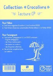Crocolivre 2 ; Lecture Cp ; Fichier Eleve - 4ème de couverture - Format classique
