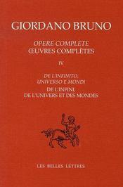 Oeuvres complètes t.4 ; de l'infini, de l'univers et des mondes - Intérieur - Format classique