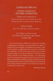Oeuvres complètes t.4 ; de l'infini, de l'univers et des mondes - 4ème de couverture - Format classique