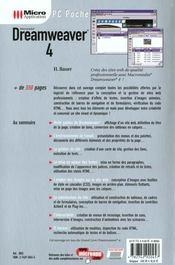 Pc poche dreamweaver 4 - 4ème de couverture - Format classique