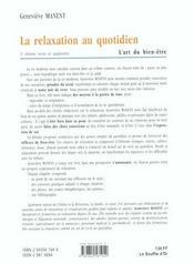 Relaxation au quotidien (la) - 4ème de couverture - Format classique