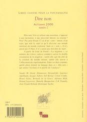 Libres cahiers pour la psychanalyse n 2 2000 - 4ème de couverture - Format classique