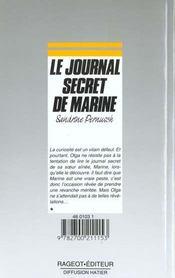 Le Journal Secret De Marine - 4ème de couverture - Format classique
