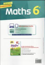 DIMENSIONS ; mathématiques ; 6ème ; manuel de l'élève (édition 2016) - 4ème de couverture - Format classique