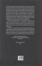La Roumanie Et La Shoah. Destruction Et Survie Des Juifs Et Des Tsiga Nes Sous Le Regime Antonescu - 4ème de couverture - Format classique
