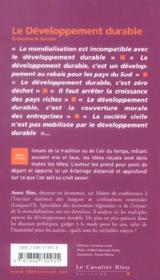 Le développement durable - 4ème de couverture - Format classique