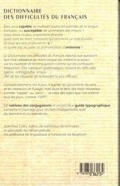 Le Dictionnaire Des Difficultes Du Francais ; 10e Edition Reliee - 4ème de couverture - Format classique