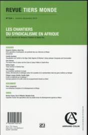 REVUE TIERS-MONDE N.224 ; les chantiers du syndicalisme en Afrique - 4ème de couverture - Format classique