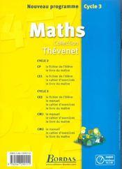 Mathématiques ; CM1 ; cahier d'exercices (édition 2002) - 4ème de couverture - Format classique