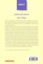 Administration de l'état (6e édition) - 4ème de couverture - Format classique