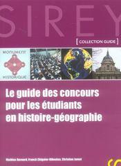 Le guide des concours pour les étudiants en histoire-géographie (1re édition) - Intérieur - Format classique