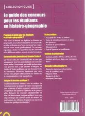 Le guide des concours pour les étudiants en histoire-géographie (1re édition) - 4ème de couverture - Format classique
