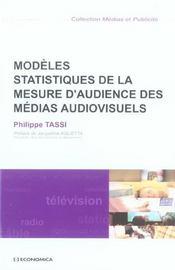 Modeles Statistiques De La Mesure D'Audience Des Medias Audiovisuels - Intérieur - Format classique
