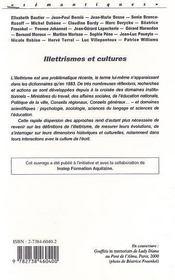 Illetrismes Et Cultures - 4ème de couverture - Format classique