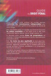 Guide du droit pénal - 4ème de couverture - Format classique