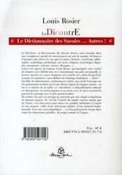 Dicautre ; dictionnaire des autres savoirs - 4ème de couverture - Format classique