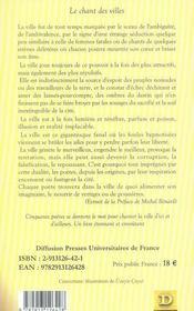 Le chant des villes ; anthologie du manoir des poètes - 4ème de couverture - Format classique