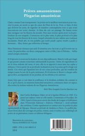 Prières amazoniennes ; plegarias amazónicas - 4ème de couverture - Format classique