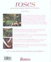 Roses Pour Petits Jardins Balcons Et Terrasses - 4ème de couverture - Format classique
